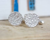 Handmade Silver Hammered Cufflinks
