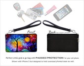 MadArt Cell Phone Wallet Wristlet Purse fits  iPhone 6 Winter Sparkle Zipper Clutch Bag, Bridesmaid Gift, blue purple RTS