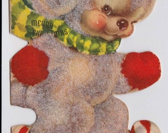 Vintage 1940's Teddy Bear and Candy Cane Skiing Merry Christmas Greetings Card (B1)