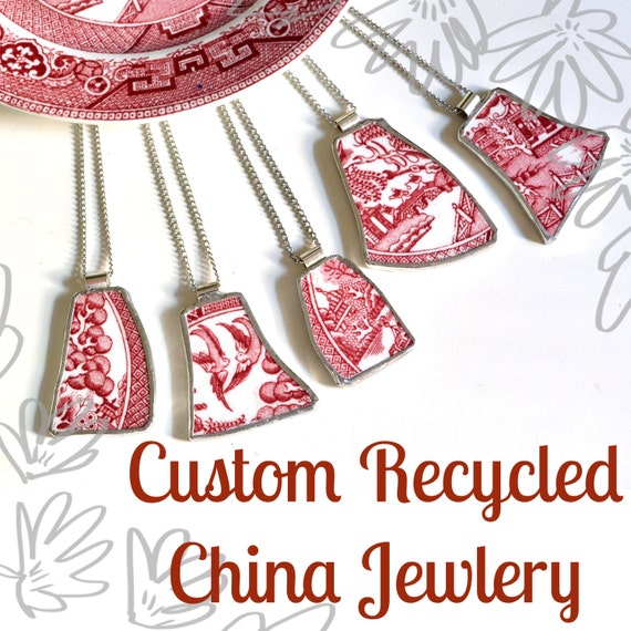 Custom Recycled China Necklace from YOUR Sentimental Plate - 5QTY