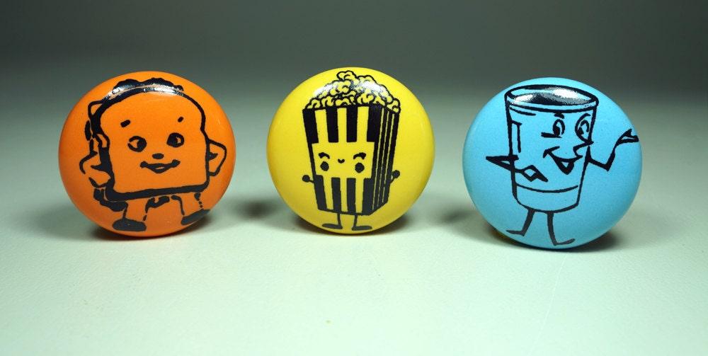 magnet set of happy snacks. (3pk)