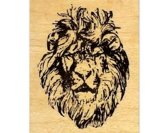 LION FACE mounted Africa rubber stamp No.17
