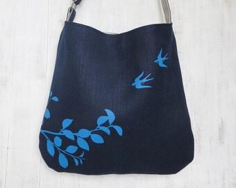 Navy Tote Handbag - Shoulder Messenger Bag for Women - Flying Swallows Screen Printed Hemp Bag - Crossbody Bag - Fabric Tote