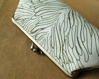 Clutch purse - coral reef on bone white antique gold kiss lock clutch purse elegant leaf kelp ivory white wedding bride