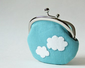 Coin purse kiss lock purse - blue sky with white clouds change purse frame pouch kawaii cloud felt applique aqua blue light blue