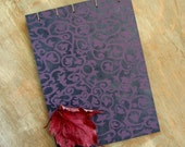 CUSTOM SIZE Wedding Guest Book - Purple Navy Damask - 30 to 70 unlined TORN pages