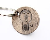 Personalized Keychain Edward Gorey Leather Small