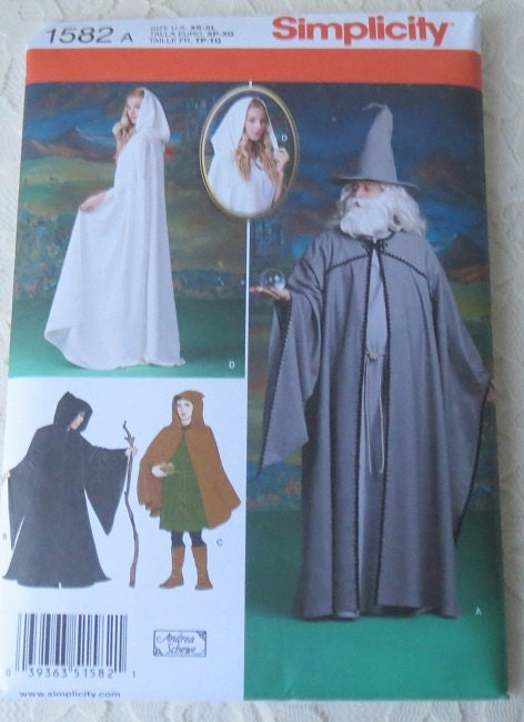 Simplicity 1582 Sewing Pattern Witch Ghoul Wizard or Gandalf