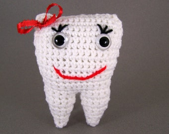 Crocheted Tooth Fairy Pillow, amigurumi plush stuffed Tooth Fairy Pillow , stuffed Tooth Fairy Pillow