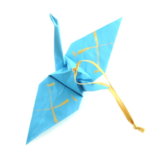 Father Kanji Gold on Turquoise Origami Crane Ornament