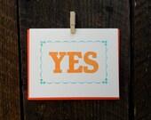 Yes Letterpress Card