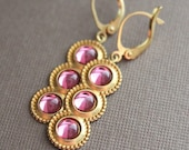 CLEARANCE - Vintage Swarovski & Brass Earrings - Pink - Limited Edition