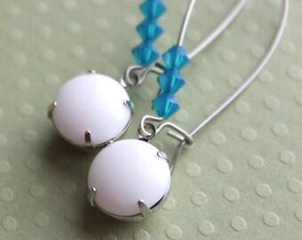 Bridget Earrings - Vintage Glass - Swarovski Beads - Surgical Steel Kidney Earwires