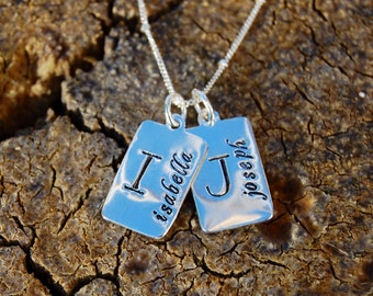 Hand Stamped Name and Initial Charm Necklace