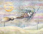Wondrous Flight - Witch Tabby Cat Halloween Fantasy Art by Molly Harrison - 9 x 12 print