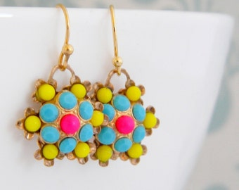 Vintage Neon Yellow Hot Pink Swarovski Earrings