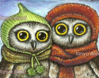 Two sisters - cute owls in knitted hats - 5x7 PRINT of an original oil pastel painting by Tanya Bond