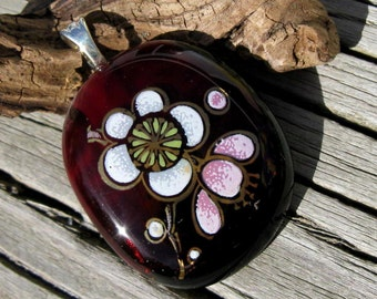 Gold Trimmed Flora Fused Glass Pendant