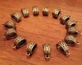 Antique Bronze Bails - 15 pcs. - Large Hole - Tibetan Bails - Fancy Bails - Antique Bronze Bails -  Cadmium Free - Lead Free