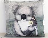 Koala cushion cover. Decorative pillow. Velvet pillow. Lady. Gum tree. Animal illustration. Australian gift with original art by flossy-p
