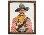 American Heritage Western Cowboy Paper Collage Art