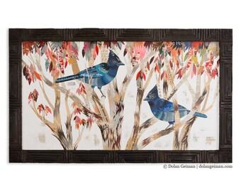 Steller's Jay in Eucalyuptus Trees Paper Collage Art