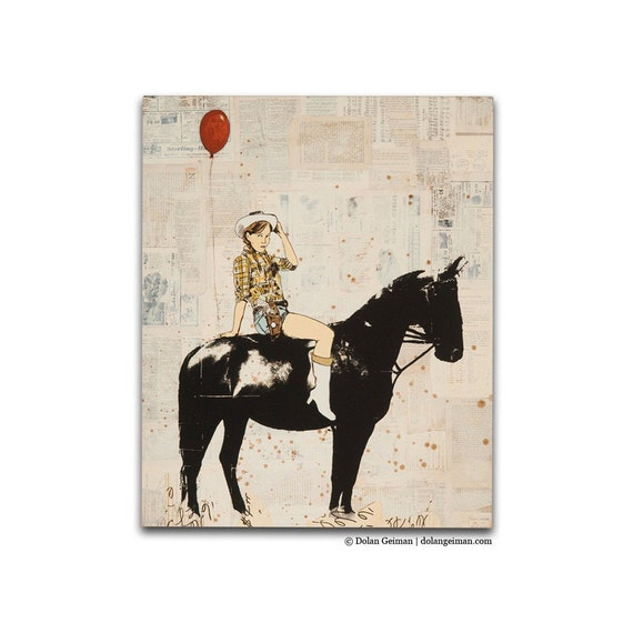 The Birthday Party Cowgirl on Horse Wood Print