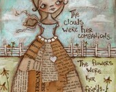 Print of my original Folk Art Mixed Media Painting - Clouds and Flowers