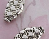 6 pcs. casted pewter harlequin beads 17x9x3mm - f4080