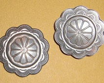 6 pcs. vintage nickel silver concho stampings 25mm - f1757