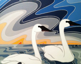 Everything With You (Trumpeter Swan) Original Painting