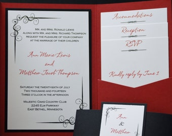 Scarlet and Black with corner flourish, pocketfold wedding invitation suite, sample set