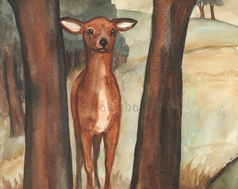 Original Art - Temperance  - Watercolor Deer Painting -The Badgers Forest Tarot