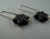 Sterling Silver Black Vintage Lucite  Star Dangle Earrings
