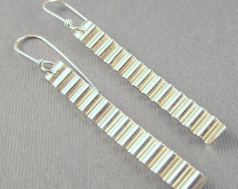 Slim Corrugated Sterling Silver  Dangle Earrings