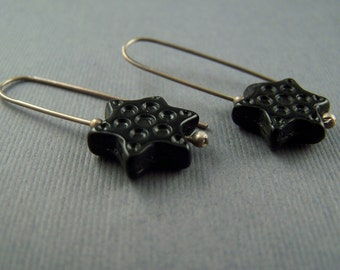 Sterling Silver Black Vintage Lucite  Star Dangle Earrings