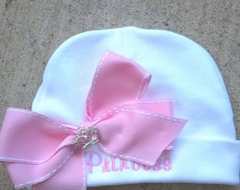 newborn hat girl, baby hospital hat bow girl hospital hat newborn hat with bow baby girl hat hospital cap infant hat pink baby beanie hat