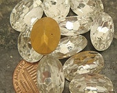 LARGE OVAL RHINESTONES Lot of (10) Vintage Glass 11 mm x 16 mm Gold Foil Back jc oval1611 MoRE AVAlLABLE