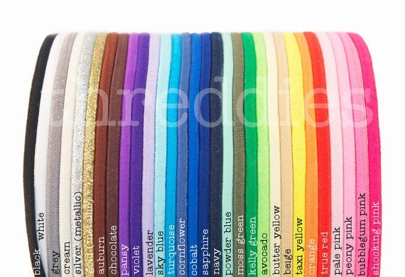 skinny elastic headbands - YOU PICK COLORS - 100pc - stretchy and comfy - (all without metal)