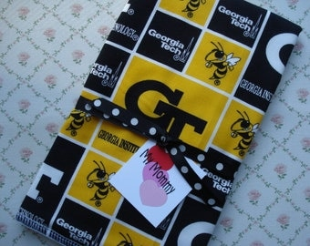 Baby Boy Girl Burp Cloth Made with 100% Cotton Georgia Tech Yellow Jackets Fabric