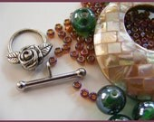 Mosaic Mother of Pearl Pendant, Flower Toggle Clasp, Glass Bead Mix