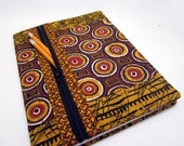 Refillable Fabric Covered Composition Notebook Cover w/ Zipper Pocket African Style