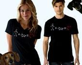 Dachshund Stick Figure Love T-Shirt Unisex Crew and Ladies V-Neck