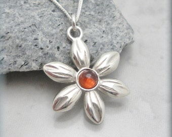 Daisy Necklace, Garnet Cabochon, Flower Jewelry, Sterling Silver, January Birthstone Necklace, Friendship Jewelry, Graduation Gift (SN791)