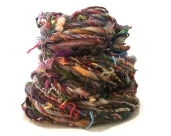 "handspun yarn, thick and thin yarn, super bulky texture ""Reincarnated"" MTO w/ tangled  scrap upcyled recycled rustic yarn, Saori Weaving"