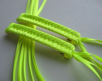 Neon Yellow Braided Ribbon Barrettes - 1980s Style Hair Accessories for Girls and Women