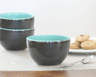 SALE Porcelain Dip Bowl in Turquoise and Satin Matte Black - Turquoise Espresso Cup with Matte Black Exterior - Ceramic Salt Cup
