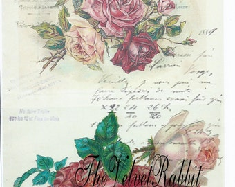 Digital download instant,Pink dance slipper roses collage*French script*300 dpi* decoupage, collage,sewing.ornaments