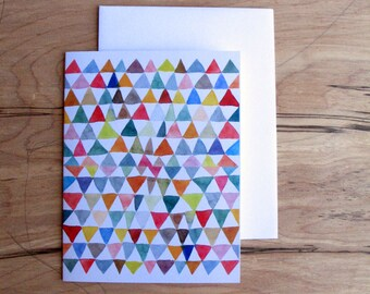Triangle Tapestry Watercolor - Greeting Card, all occasion card - Blank Inside with matching white envelope