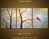 """Art Painting 54"""" Triptych Original Large Wall Modern Birds Trees Landscape ...3 acrylic canvases... """"Twilight Melody"""""""
